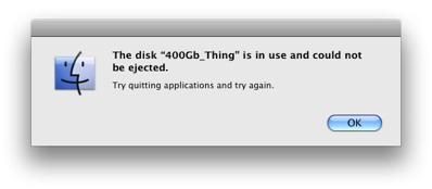 "OS X's ""disk is in use"" error dialog"