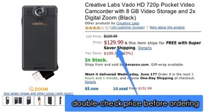 Amazon.Com  Creative Labs Vado Hd 720P Pocket Video Camcorder With 8 Gb Video Storage And 2X Digital Zoom (Black)  Camera & Photo
