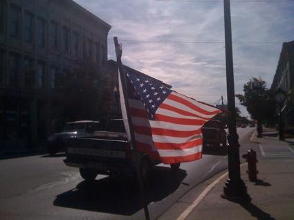 A flag on main street