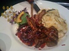 Lamb chops at the Flat River Grill in Lowell, MI